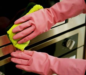FE103-D Dip flocklined ถุงมือยางที่ใช้ในครัวเรือน