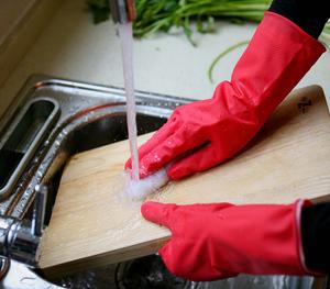 ถุงมือ FE101-U ริ้วรอยยางที่ใช้ในครัวเรือน